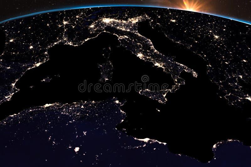Свет ночи земли на Центральной Европе Конец Италии вверх по взгляду иллюстрация штока