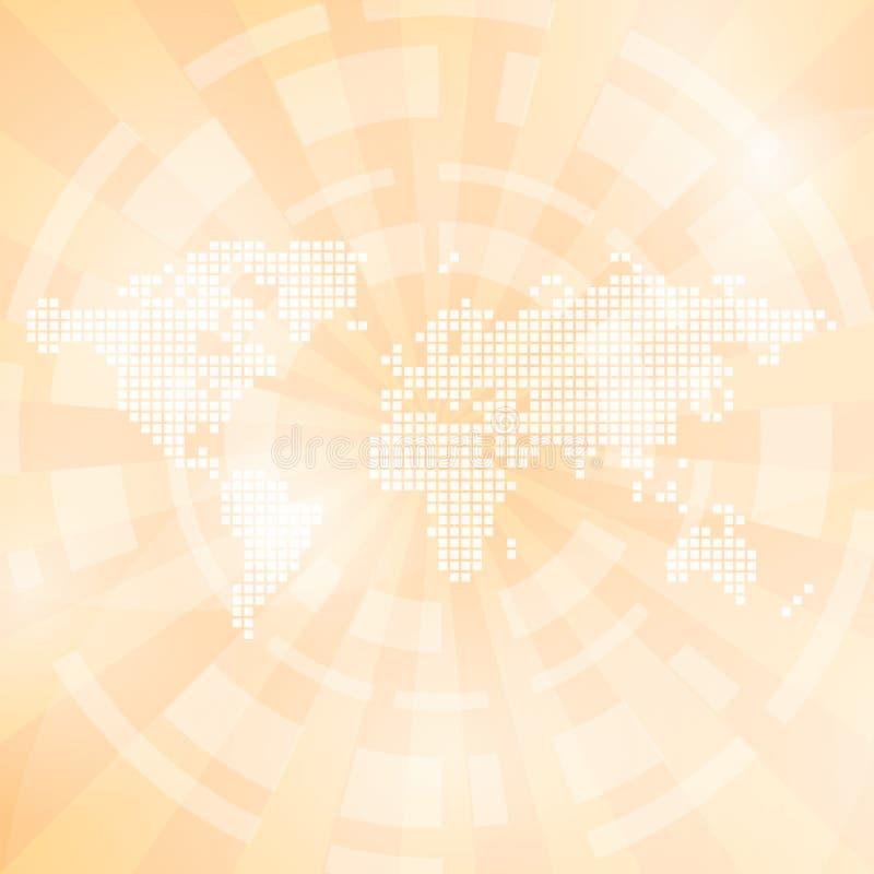 Светлооранжевая абстрактная предпосылка с картой и лучами бесплатная иллюстрация