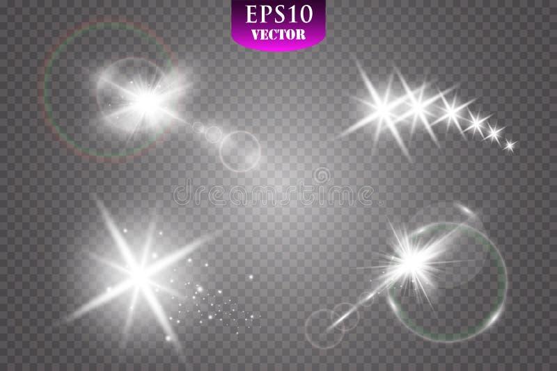 Свет, пирофакел, звезда и взрыв специального эффекта зарева изолировали искру иллюстрация штока