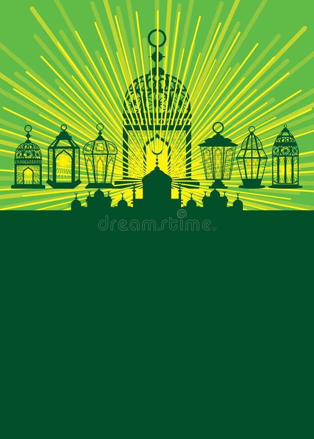 Свет пребывания фонарика Рамазана вокруг карточки иллюстрация штока