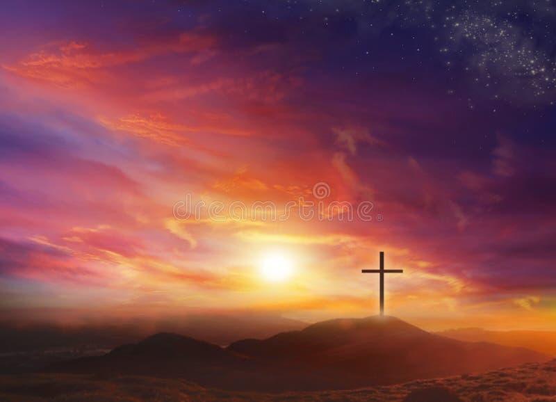 Свет распятия Христоса Свет бога стоковое изображение rf