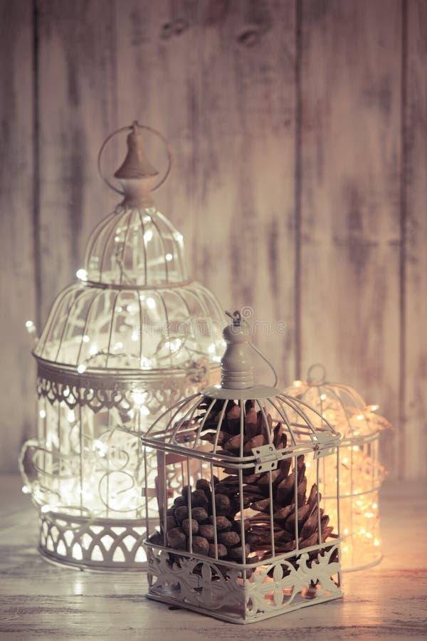Свет рождества в клетке стоковые фотографии rf