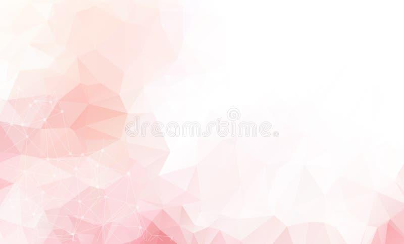 Свет - розовая предпосылка вектора с точками и линиями Абстрактная иллюстрация с красочными дисками и треугольниками Красивый диз