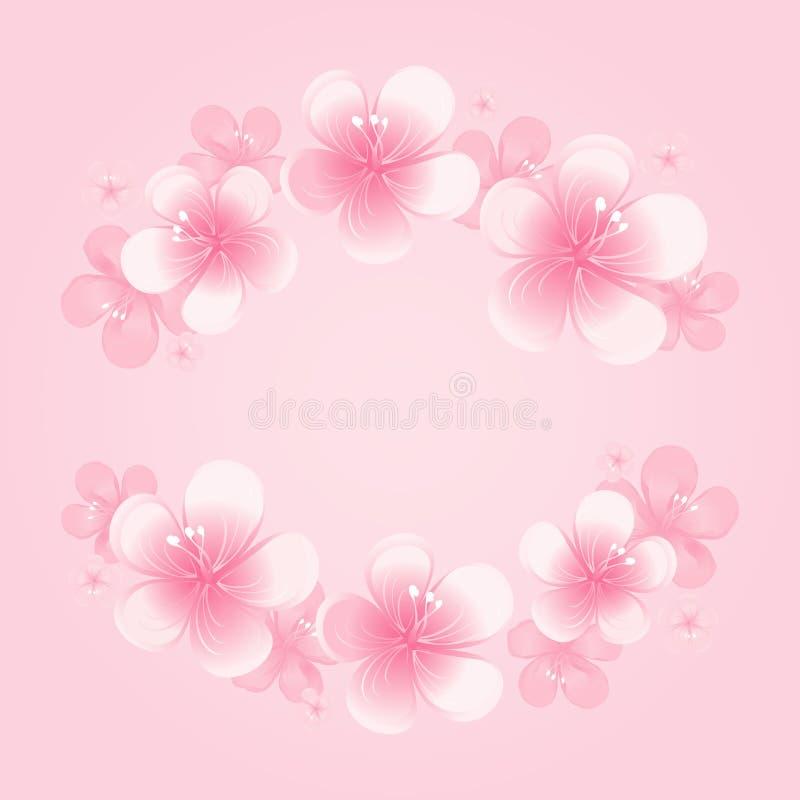 Свет - розовая рамка цветков изолированная на розовой предпосылке цветки Apple-вала Цветение вишни Вектор EPS 10, cmyk бесплатная иллюстрация