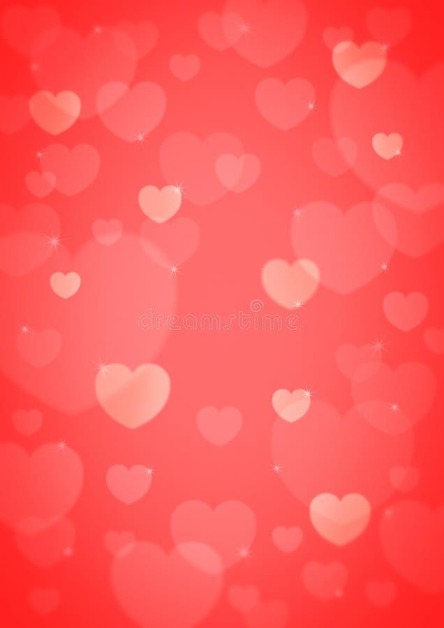 Свет - розовое bokeh сердца, предпосылка влюбленности стоковые изображения rf