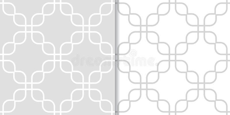 Свет - серые геометрические орнаменты делает по образцу безшовный комплект иллюстрация вектора
