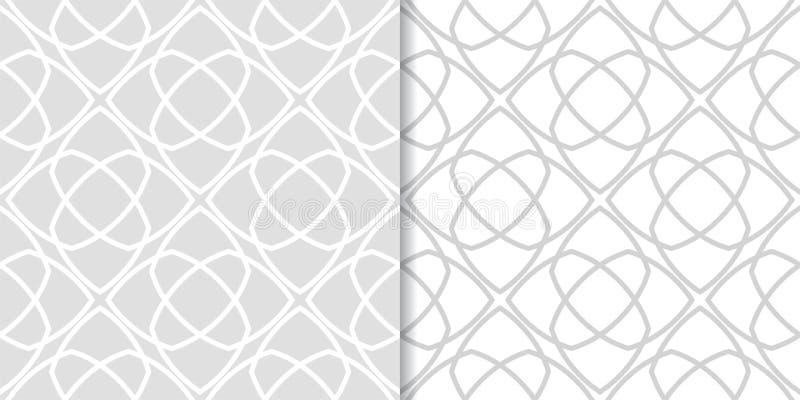 Свет - серые геометрические орнаменты делает по образцу безшовный комплект иллюстрация штока