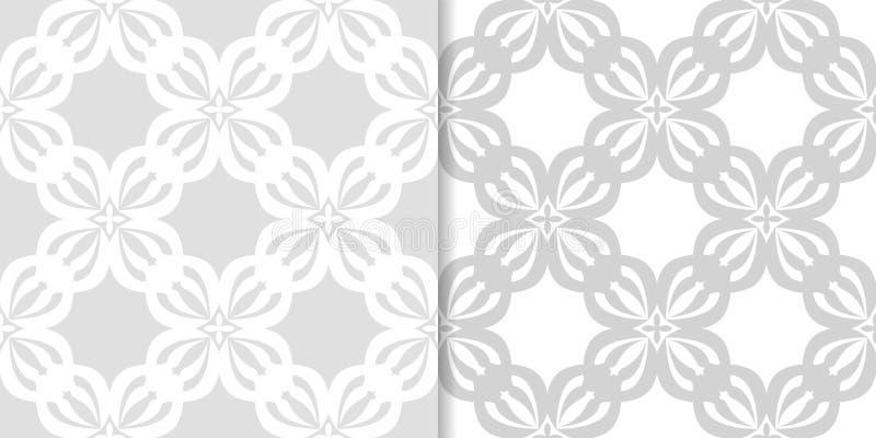 Свет - серые флористические предпосылки делает по образцу безшовный комплект иллюстрация вектора