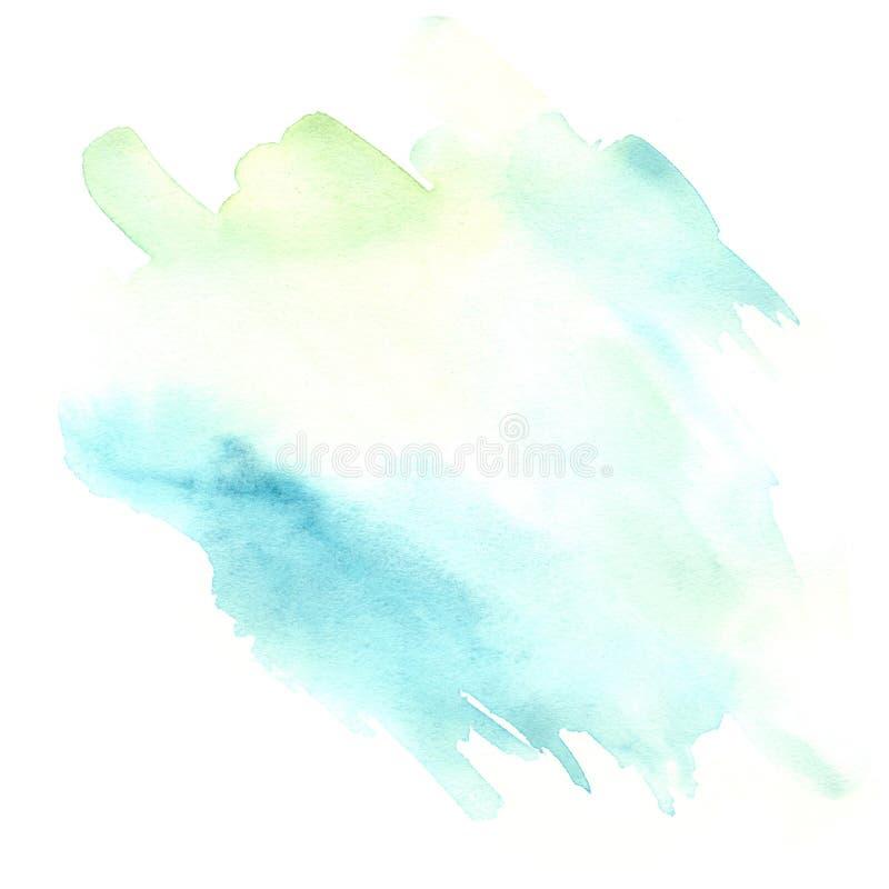 Свет - синь и зеленая помарка акварели иллюстрация вектора