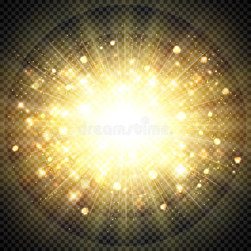 Свет солнца влияния конспекта золотой для элемента взрыва солнца блестящего вектор eps10 иллюстрации иллюстрация штока