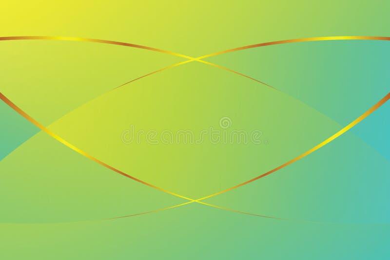 Свет цвета градиента зеленого света мягкий и золотая линия график для предпосылки баннерной рекламы косметик роскошной современно бесплатная иллюстрация