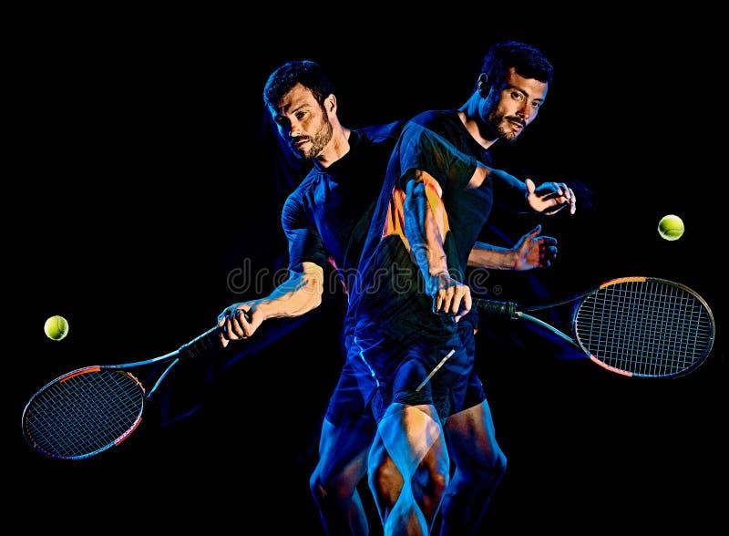 Свет человека теннисиста крася изолированную черную предпосылку стоковые фото