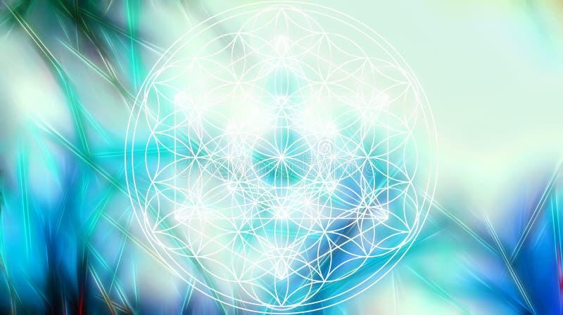 Светлые merkaba и цветок жизни на абстрактных предпосылке цвета и структуре фрактали геометрия священнейшая иллюстрация вектора