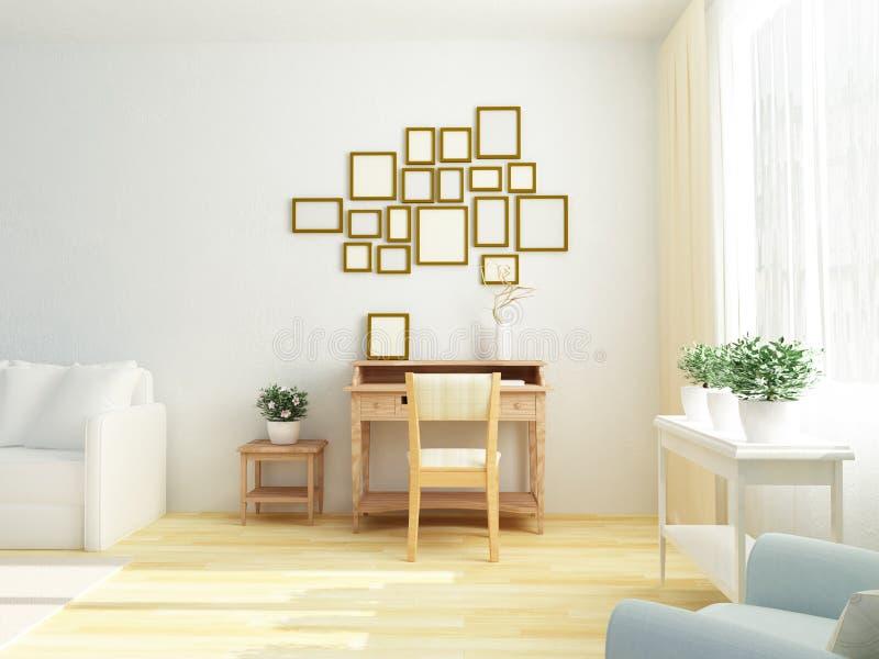 Светлый белый интерьер живущей комнаты с винтажной таблицей шкафа Скандинавский тип бесплатная иллюстрация
