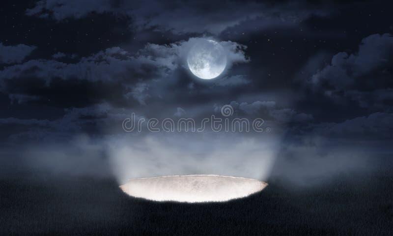 Светлый лить из отверстия в земле стоковое изображение