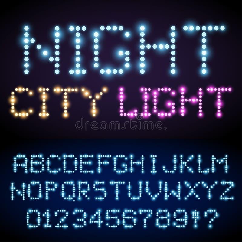 Светлый комплект шрифта иллюстрация вектора