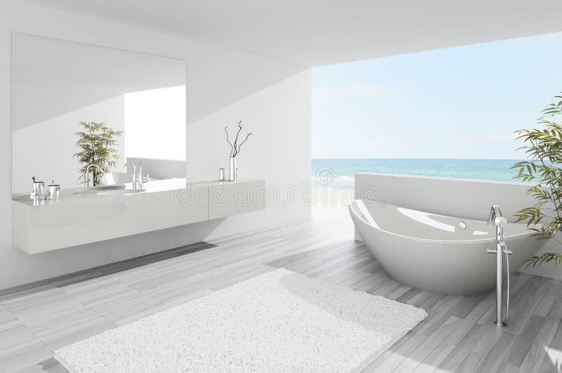 Светлый современный интерьер ванной комнаты иллюстрация вектора