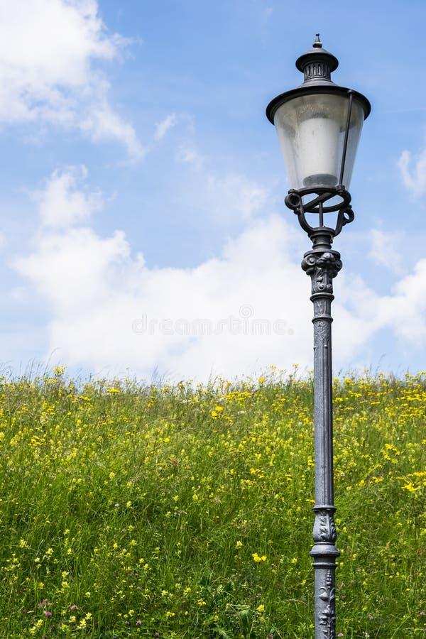 Светлый столб на поле около Winterthur Швейцарии стоковые изображения