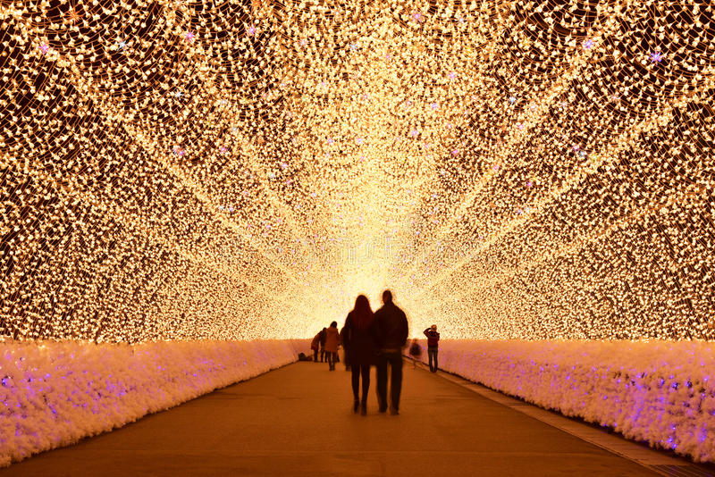 Светлый тоннель в освещении зимы, Mie, Япония стоковая фотография
