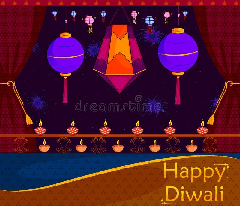 Светлый фестиваль предпосылки торжества Индии счастливой Diwali иллюстрация штока