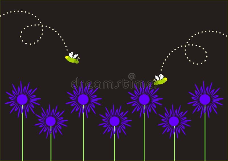Светляки и голубые цветки стоковая фотография rf