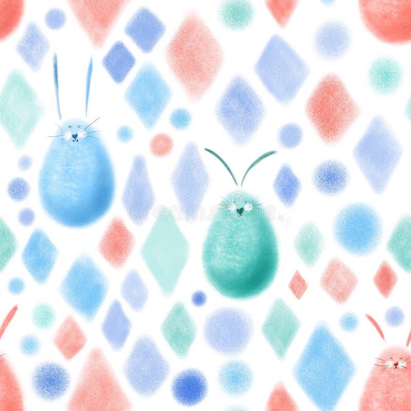 Свет colorfull картины руки кролика пасхи вычерченный иллюстрация вектора