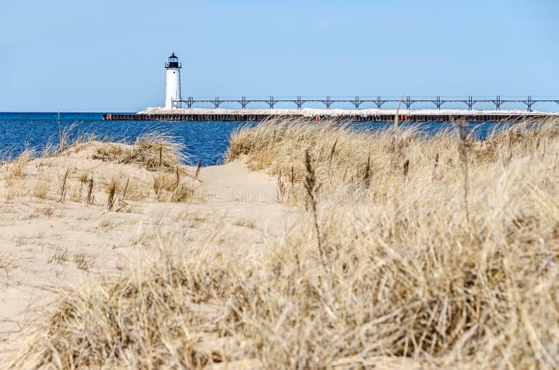 Свет Manistee на Lake Michigan стоковое фото rf