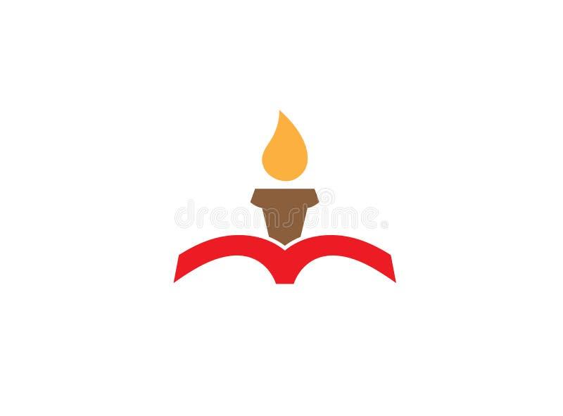 Свеча внутри книги для дизайна логотипа иллюстрация вектора