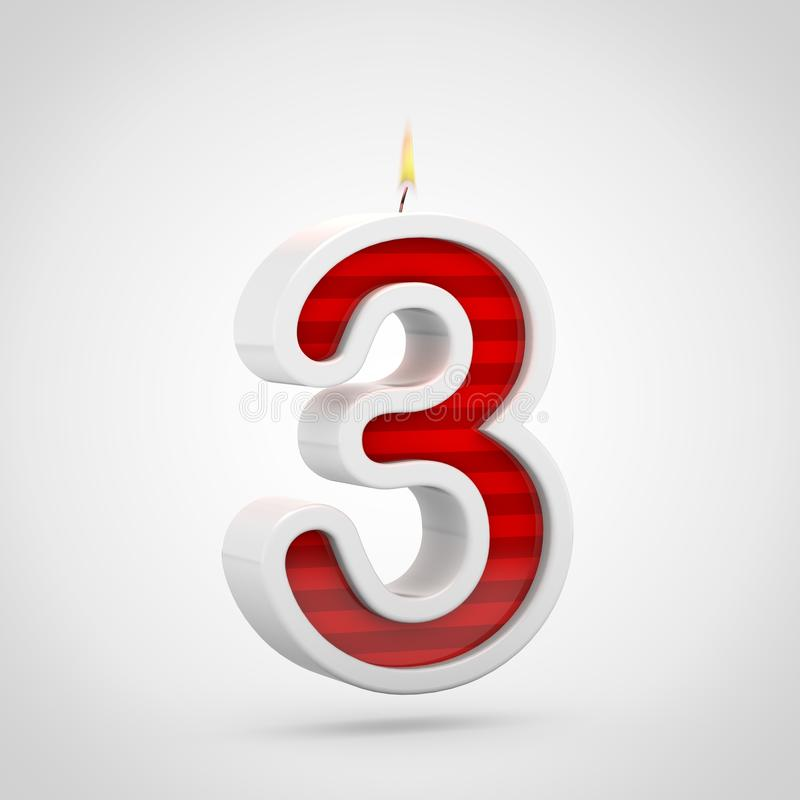 Свеча 3 дня рождения изолированный на белой предпосылке иллюстрация штока