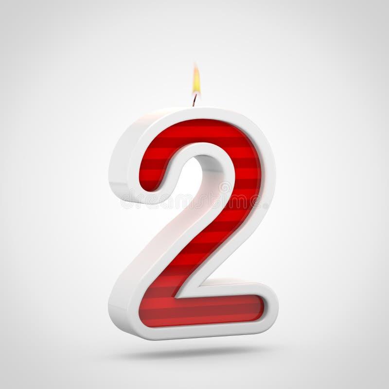 Свеча 2 дня рождения изолированный на белой предпосылке бесплатная иллюстрация