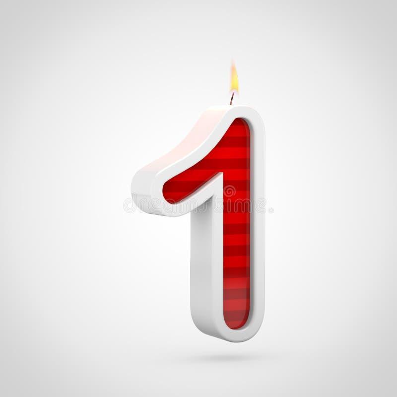 Свеча 1 дня рождения изолированный на белой предпосылке бесплатная иллюстрация