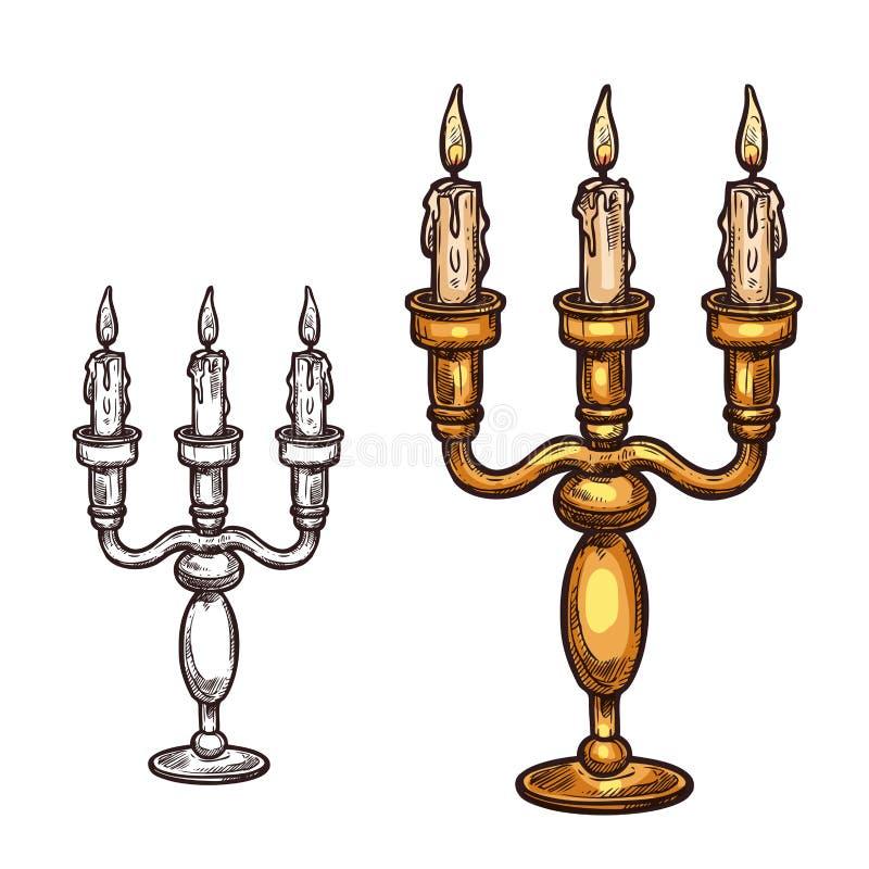 Свеча значка эскиза вектора хеллоуина в подсвечнике иллюстрация штока