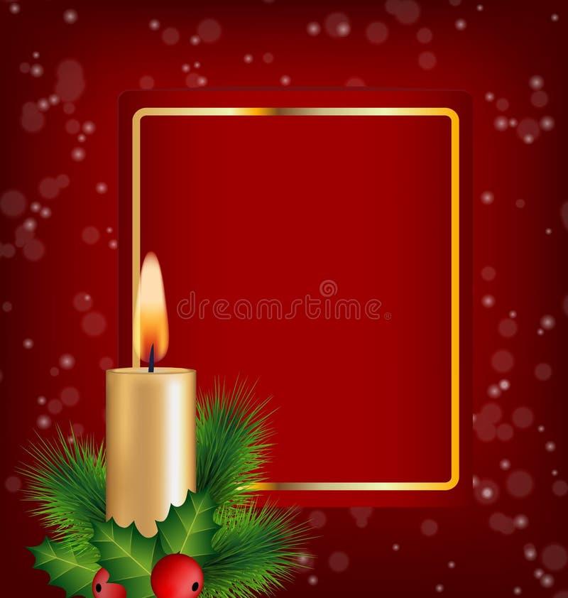 Свеча, падуб, сосна и рамка рождества на красном цвете иллюстрация вектора
