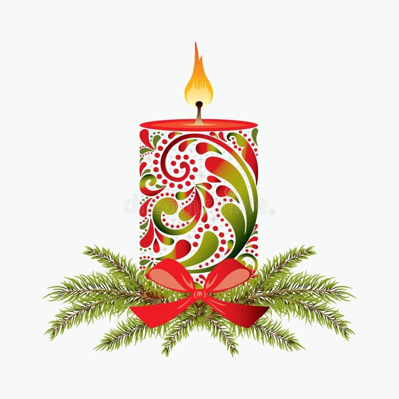 Свеча рождества. иллюстрация штока
