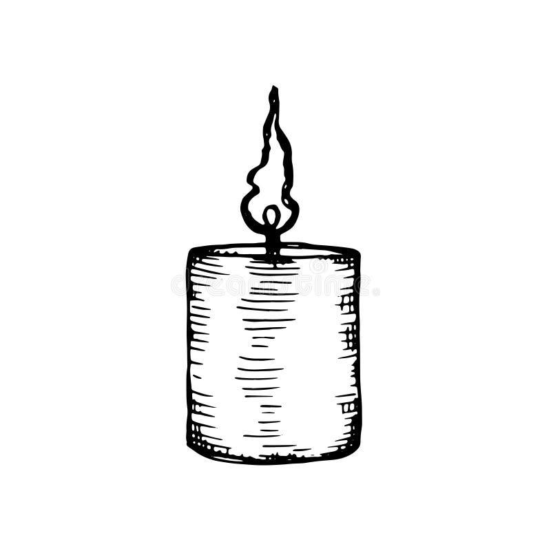 Свеча эскиза вектора изолирована На белой предпосылке иллюстрация штока