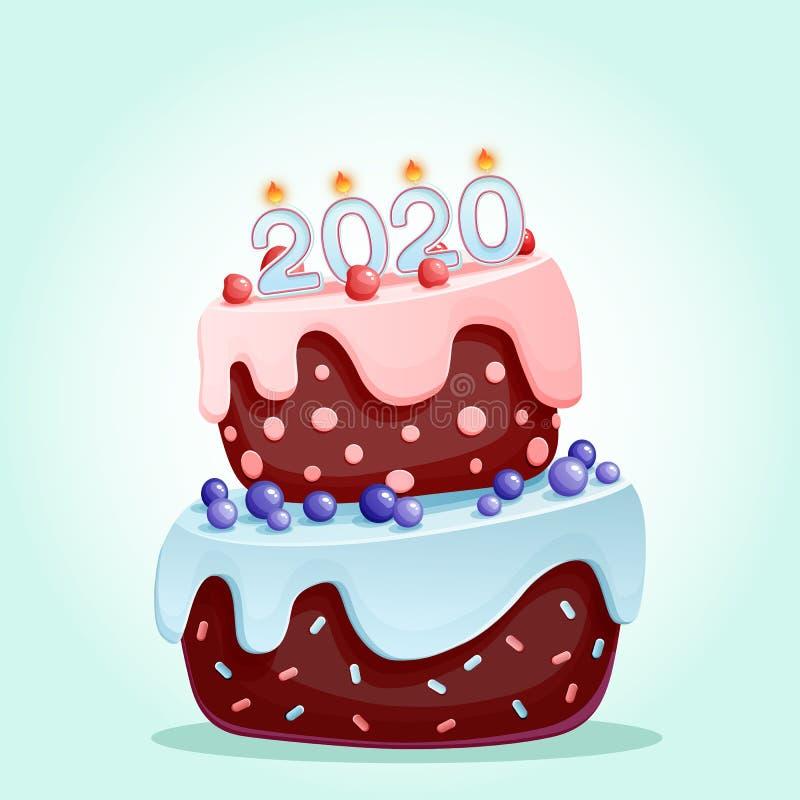 2020 свечей на праздничном торте С Новым Годом! изолированная иллюстрация 2020 вектора Веселое рождество и счастливый дизайн вект иллюстрация штока