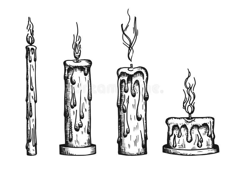 Свечи горят Эскиз года сбора винограда вектора иллюстрация вектора