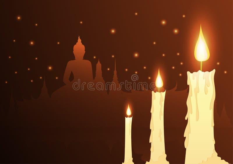 Свечи и буддист виска с днем vesak бесплатная иллюстрация