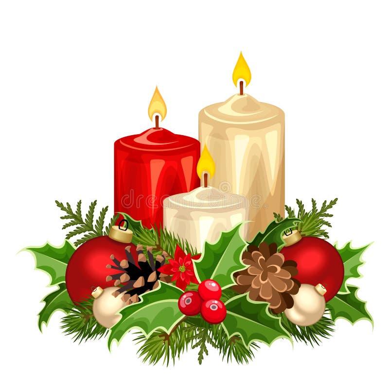 Свечи красного и белого рождества также вектор иллюстрации притяжки corel иллюстрация штока