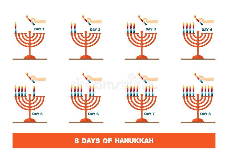 Свечи молнии на еврейский праздник, Ханука иллюстрация иллюстрация штока