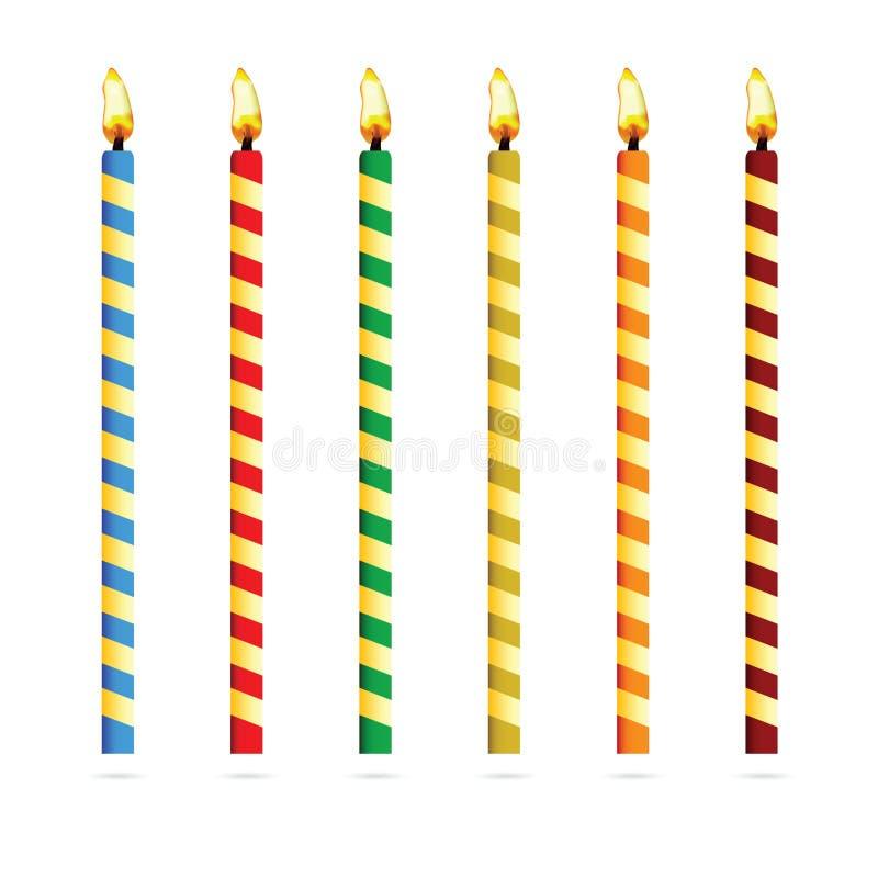 Свечи дня рождения для иллюстрации вектора торта иллюстрация штока