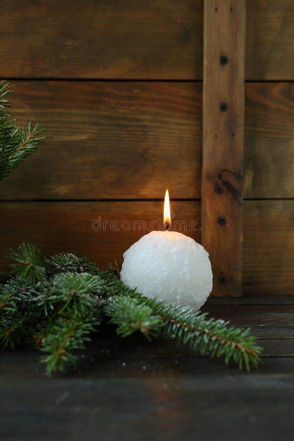 Свечи одного белого рождества стоковые изображения rf