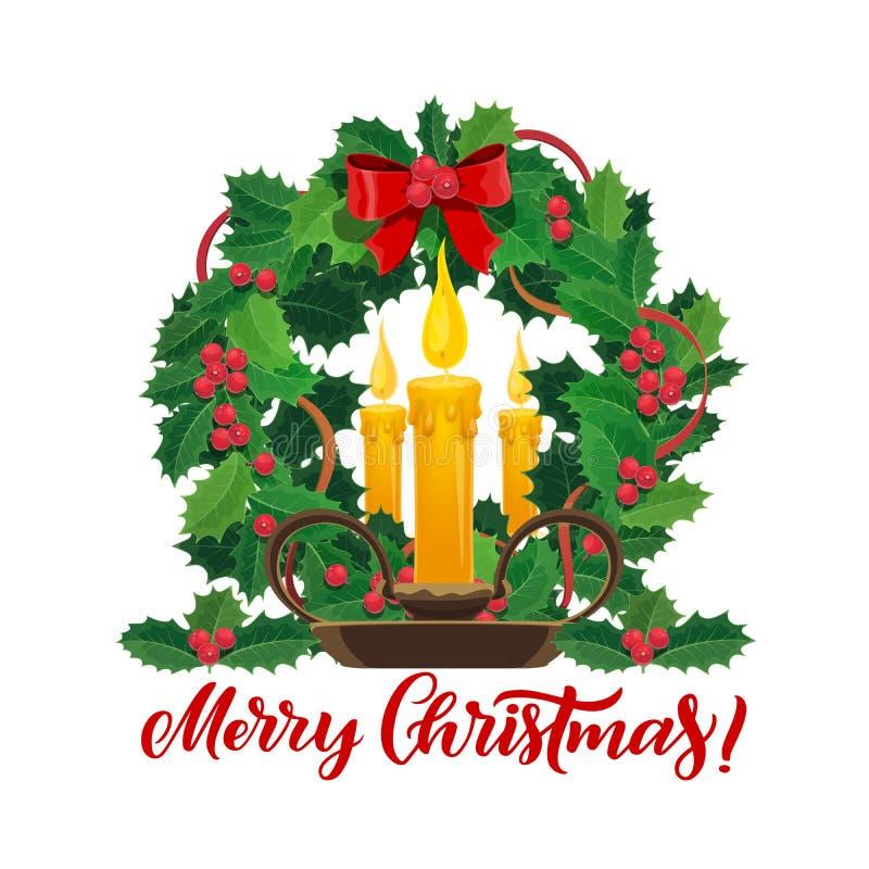 Свечи рождества в венке сосны Xmas иллюстрация вектора