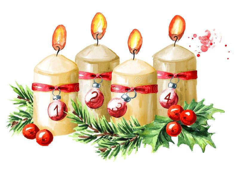 4 свечи рождества пришествия, четвертое пришествие E бесплатная иллюстрация