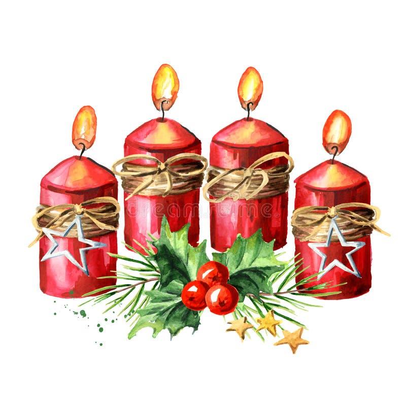 4 свечи с украшением, четвертое пришествие рождества пришествия E бесплатная иллюстрация