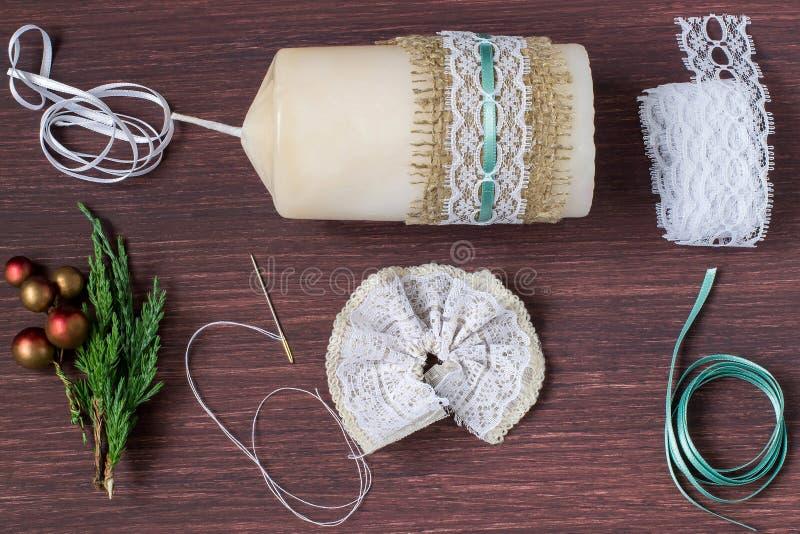 Свечи украшения рождества с вашими собственными руками Раздел 5 стоковое изображение