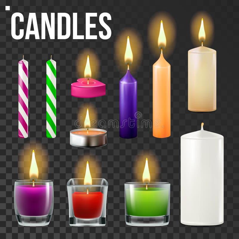 Свечи установленного вектора Разные виды парафина, вощиют горя свечи Классический, стеклянный опарник, для торта Свет свечи парти иллюстрация вектора