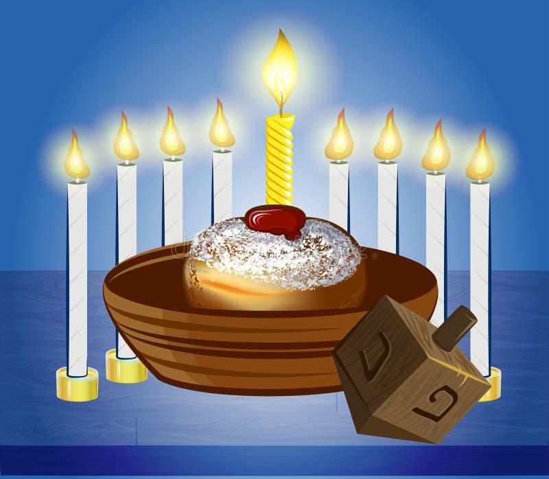 Свечи Хануки с традиционными donuts бесплатная иллюстрация