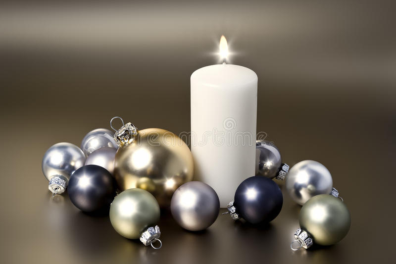 Свечка белого рождества стоковая фотография rf