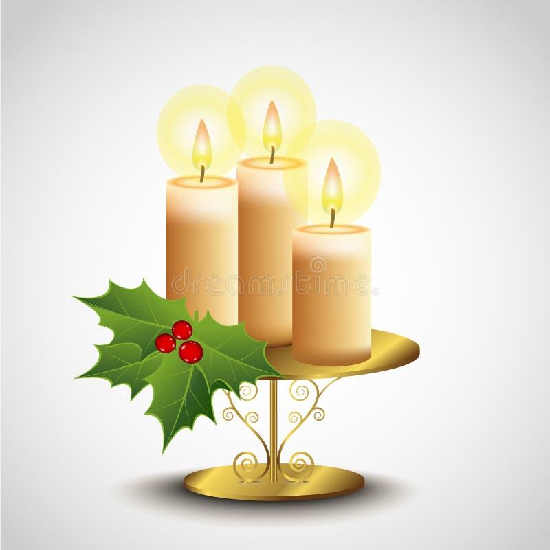 Свечка рождества на стойке иллюстрация вектора